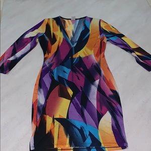 Multi-Colored Mid Sleeve Midi Dress